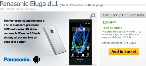 Panasonic Eluga reaches availability throughout Europe
